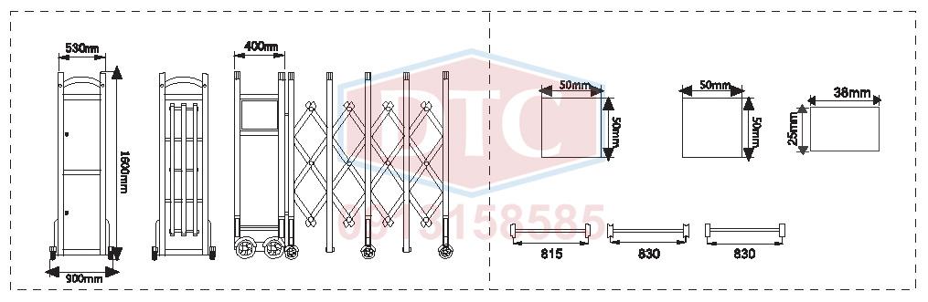 Bản vẽ kỹ thuật cổng xếp DTC F-801