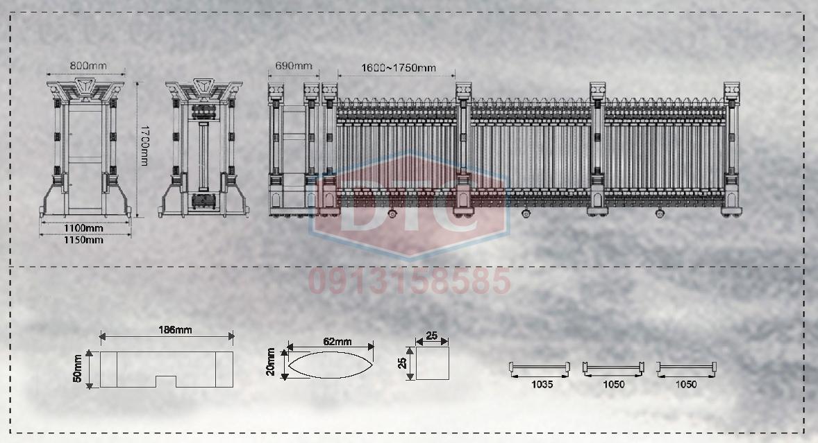 Bản vẽ kỹ thuật cổng xếp inox dtc A805
